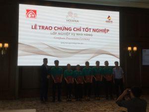 Lễ trao chứng chỉ tốt nghiệp khóa đào tạo Sơ cấp bậc 1 nghề Nghiệp vụ nhà hàng tại HOIANA, Quảng Nam